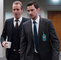 Richard and Rhys, Berlin Station. (Rhys is sporting some excessively tight clothing!)