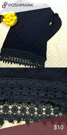 "Maurices Burnout and Lace Boho Navy long sleeve shirt. Lace detail at the bottom of shirt. Some pilling.  Pit to pit- 15"" Length 25 1/2"" Maurices Tops"