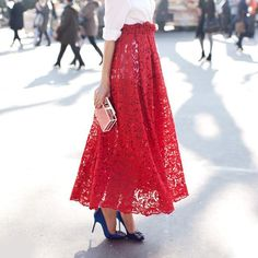 long red lace a-line skirt paired with a crisp white blouse & red sunglasses - graduation Date Outfits, Girl Outfits, Tea Length Skirt, I Love Fashion, Womens Fashion, Red Skirts, Red Blouses, Looks Cool, Mode Inspiration