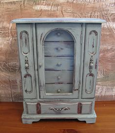 UPcycled Vintage Jewelry Box, Jewelry Chest, Gift, Handpainted, Distressed in Duck Egg Blue. $48.00, via Etsy.