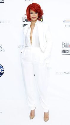MAX AZRIA, 2011 Rihanna rocked an all-white Max Azria suit for the Billboard Music Awards, which popped against her vibrant red hair.