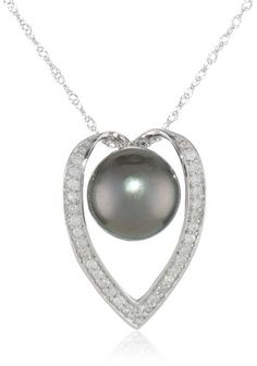 "14k White Gold Black Tahitian Cultured Pearl with Diamond Accent Pendant Necklace (1/6 cttw, H-I Color, I2-I3 Clarity), 17"" Amazon Curated Collection,http://www.amazon.com/dp/B004UUH0KO/ref=cm_sw_r_pi_dp_49SOsb1KV519T5J9"