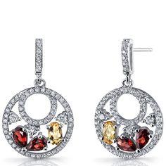 Oravo Women's Sterling Silver Garnet and Citrine Double-hoop Dangle Drop Earrings