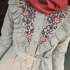 Modesty Fashion, Muslim Fashion, Hijab Fashion, Fashion Outfits, Hijab Outfit, Dress Outfits, Modele Hijab, Hijab Trends, Embroidery Suits