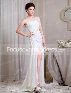 Sheath/Column One Shoulder Appliques Split Front Court Train Wedding Dresses-FocusEveningDress