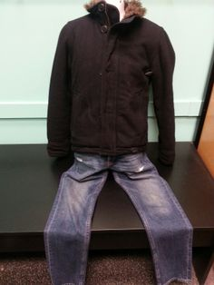 Stay warm out there! American Eagle men's jacket, size S, $35. Hollister men's denim, size 28, $25.