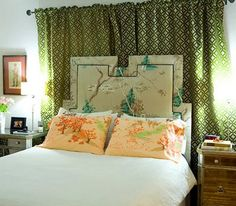 Bedroom with Japanese print headboard, pillows