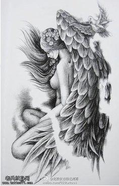 美女天使之翼手稿纹身图案