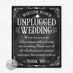 Unplugged Wedding 8x10 Printable Chalkboard by PrintablePixels, $3.00