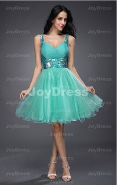 buy dresses at www.joydress.co.uk  Sequin Sash Ball Gown Shoulder Straps Knee-length Dress