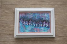5 x 7 Abstract Houses Landscape Mixed Media Wall by NorthernAura