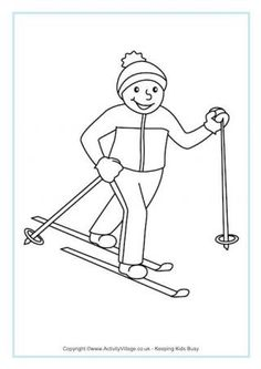 Cross Country Skiing Colouring Page: Winter Olympics Crafts for Kids.