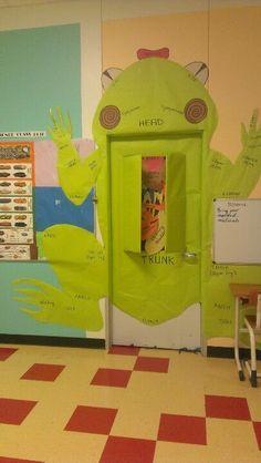 Science teacher frog dissection door decoration