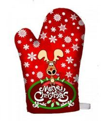 Konyhai edényfogó kesztyű karácsonyi rénszarvas mintával
