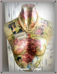 Another beauty from Evocative Vintage. I want to shop where she shops! Mannequin Art, Dress Form Mannequin, Vintage Mannequin, Decoupage, Vintage Vignettes, Vintage Numbers, Estilo Shabby Chic, Funky Junk Interiors, Gold Spray Paint