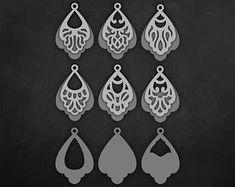 Faux leather earrings Set, Tear drop Pendant laser cut templates, Double Layered style Cutting File / SVG Cricut maker / Silhouette Cameo