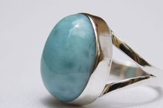 NEW DOMINICAN AA MARBLED OVAL-SHAPED LARIMAR STONE SILVER RING SIZE 6.50 JEWELRY #DominicanLarimarStone #FashionRing