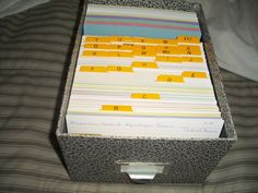 I keep index cards of all individuals in my tree that I have records for so I don't' double up on them and it's easier to see what I may still need. I number them by pedigree chart numbers and I use pink for the main females, blue for main males and green, yellow, for their children. (prev. pinner)