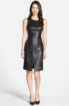 ON SALE! PETITE   Great for fall and winter!   Halogen® Leather & Knit Sleeveless Sheath Dress (Regular & Petite)