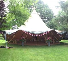 A single Peaktipis Tipi looking 'Pretty in pink' for a recent birthday garden party. Tipi Wedding, Opening Day, Fairy Lights, Pretty In Pink, Gazebo, Outdoor Structures, Patio, Garden, Outdoor Decor