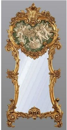Antique French Gold Mirror with Green & White Marble Cherub Plaque