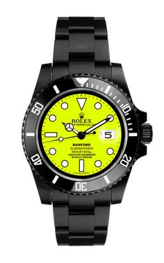 Black Submariner With Neon Yellow Dial by Bamford for Preorder on Moda Operandi