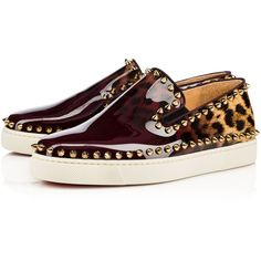 PIK BOAT WOMAN PATENT DEGRADE LEOPARD  Orthodoxe/Multi Patent calfskin... ($785) ❤ liked on Polyvore featuring shoes, christian louboutin, patent shoes, flat patent leather shoes, patent flat shoes, leopard flat shoes and leopard print flat shoes