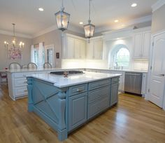 Quartz countertop, custom built  island