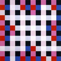Richard Paul Lohse, Vier gleiche asymmetrische Gruppen innerhalb eines regelmäßigen Systems   Four equal asymmetrical groups within a regular system, 1962-63. Oil on Canvas. Vanabbemuseum, Eindhoven, NL.