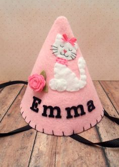 Felt Cat Birthday Hat Party Hat Girls Pink Hat by pixieandpenelope, $20.00