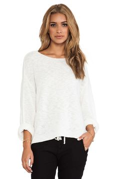 Line Bedford Short Sleeve Sweater in Blanche
