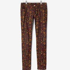 """♠️Kate Spade """"SATURDAY""""  Skinny Jean♠️ Unique & trendy skinny jean by Kate Spade...great deep purple color with a vibrant orange,yellow,& green geometric pattern... This is a slim fit jean that will fit snugly all around your hip and thigh and sit below your belly button… jeans have 29"""" inseam...these colors are perfect for the fall!!!..pair with a chunky sweater and a pair of cute booties and you are ready to go!!!✨ kate spade Jeans Skinny"""