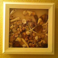 Shell collage. Brown beach themed bathroom.