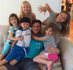With his nieces and nephew. I LOVE how close he is to his family! Just one more reason I SWOON over you Mr. Tebow! ☺️