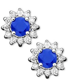 Royalty Inspired by Effy Sapphire (5/8 ct. t.w.) and Diamond (1/4 ct. t.w.) Stud in 14k White Gold