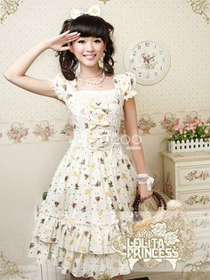 Sweet Printing Yellow Short Sleeves Cotton Lolita Dress - Milanoo.com...This would be perfect as long as it's at least knee length (for me anyway )