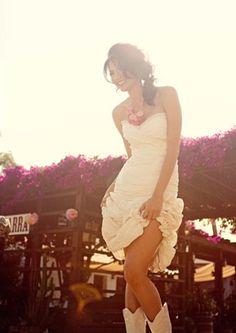 brides wearing cowboy boots