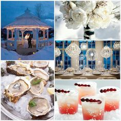 Winter Wonderland Wedding Ideas....the pic on the right middle, with lighting globes is lovely, but some how, it looks as though they have no flowers ๏_๏