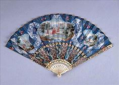 Beautiful antique blue hand fan owned by Marie Antoinette.