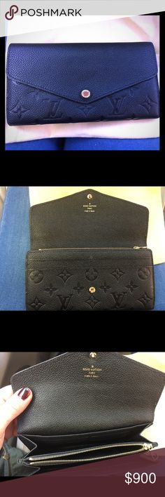 ❤️️ AUTH Louis Vuitton Sarah Wallet LOWEST PRICE ON INTERNET. Still found in stores and online. I love this wallet. 100% authentic.. It has ample CC slots, several open pockets and one on the back. Zipper pocket for change and a snap front closure. Noir / SARAH WALLET M61182 100% Calf Leather  This envelope-style Sarah wallet combines an exterior in discreetly embossed Monogram Empreinte leather with an ingeniously designed interior featuring a variety of pockets and credit card slots. Louis…