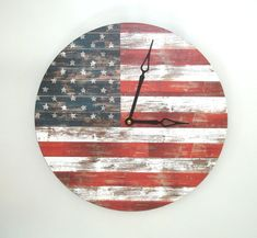 Americana Wall Clock American Flag Clock Unique Wall Clock Weathered Wood Clock Rustic Americana Home Decor Red White Blue Decor - 1642 Unique Wall Clocks, Wood Clocks, Rustic Clocks, Cool Desk Accessories, Americana Home Decor, Wall Watch, Wood Spool, Patriotic Decorations, Weathered Wood