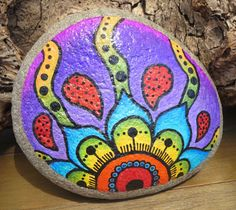 Painted Beach Rock From Malibu Beach CA Flower door PurpleKatJewelry