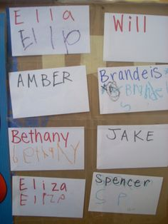 Children come to preschool with wide ranging ability levels when it comes to recognizing and writing their names. Some of this is due, quite frankly, to the length of their names and which letters… Preschool Names, Preschool Curriculum, Classroom Activities, Preschool Sign In Ideas, Preschool Plans, Class Activities, Summer Activities, Classroom Ideas, Beginning Of School