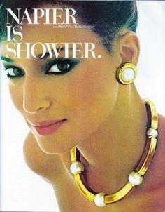 1984 Napier Jewelry Ad - Napier Is Showier - Lenora Salazar Jewelry Ads, Fashion Jewelry Stores, Luxury Jewelry, Jewellery, Jewelry Necklaces, Silver Jewelry, Vintage Costume Jewelry, Vintage Jewelry, Handmade Jewelry