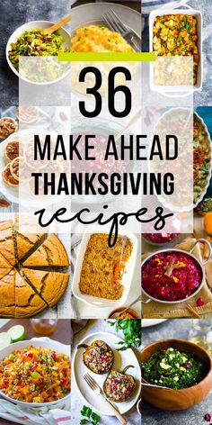 Make ahead Thanksgiving recipes- reduce your stress on Thanksgiving by preparing some of the dishes ahead of time! Includes Thanksgiving side dishes, thanksgiving turkey recipes, thanksgiving dessert recipes and more. via sweetpeasaffron Thanksgiving Recipes Make Ahead, Traditional Thanksgiving Recipes, Vegetarian Thanksgiving, Thanksgiving Turkey, Easy Thanksgiving Side Dishes, Easy Thanksgiving Appetizers, Healthy Holiday Recipes, Hosting Thanksgiving, Thanksgiving Centerpieces