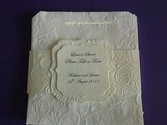 "50 IVORY EMBOSSED WEDDING SWEET BAGS WITH PERSONALISED HOLDER, 17CM  (7"") SQUARE"