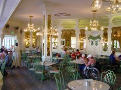 The Plaza Restaurant on Main Street USA.  This full serve restaurant has plenty of turn of the century charm with Victorian touches throughout. It's quite small and the menu is limited to soup, sandwiches, burgers and salads. While the meal may be standard fare, the desserts are hard to resist.