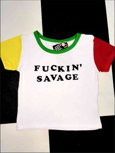 BABY YOU KNOW YOU A FUCKIN SAVAGE #SLAY   Cotton spandex blend Cropped ringer tee ft. multi colorblocking All over stretch Lightweight
