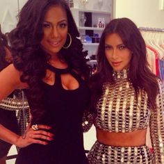 Erica Mena and Kim Kardashian at the DASH opening tonight in Miami. Shop Erica's dress at Sears.com/Kardashian now!