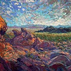 "✧ @erinhansonartist ✧ • Desert Edge, 2015. • Medium: Oil on Canvas • Artist: Erin Hanson • Instagram: @erinhansonartist  ""Erin Hanson's  frequent forays into National Parks and other recesses of nature include backpacking expeditions, rock climbing, and photo safaris.  Her  unique painting style has become known as Open Impressionism, with hundreds of collectors eagerly anticipating her work."" ⇢ www.erinhanson.com"